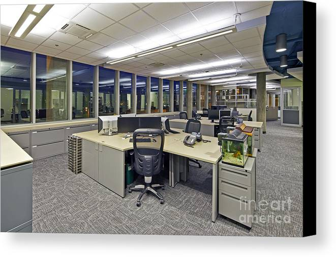 Architectural Design Canvas Print featuring the photograph Office Work Stations by Francis Zera
