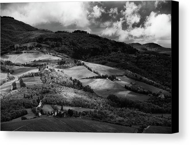 Horizontal Canvas Print featuring the photograph Patches Of Light Over Hills In Chianti, Tuscany by Philipp Klinger
