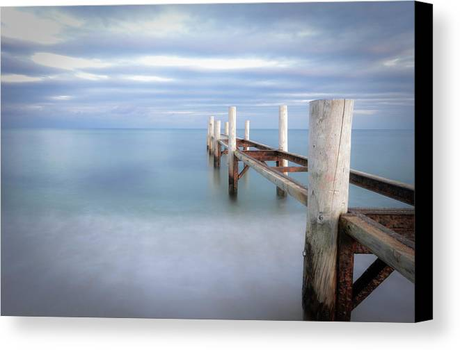 Horizontal Canvas Print featuring the photograph Pier In Pampelonne Beach by Dhmig Photography