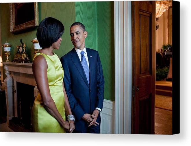 History Canvas Print featuring the photograph President And Michelle Obama Wait by Everett