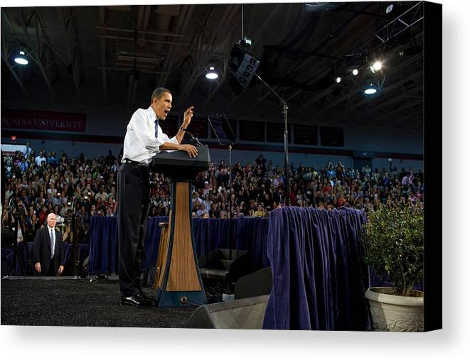 History Canvas Print featuring the photograph President Obama Promotes Health Care by Everett