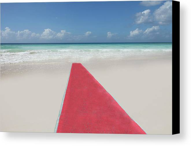 Horizontal Canvas Print featuring the photograph Red Carpet On A Beach by Buena Vista Images