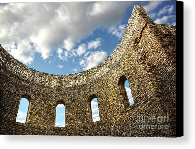 Architecture Canvas Print featuring the photograph Ruin Wall With Windows Of An Old Church by Sandra Cunningham