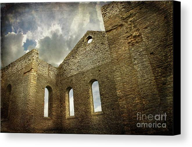 Architecture Canvas Print featuring the photograph Ruins Of A Church In Ontario by Sandra Cunningham