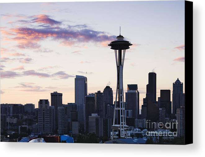 Apartment Canvas Print featuring the photograph Seattle Skyline At Dusk by Jeremy Woodhouse