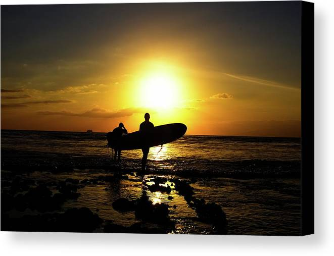 Adults Only Canvas Print featuring the photograph Silhouette Surfers by Rolfo