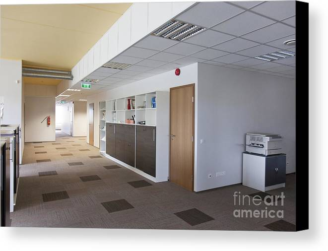 Architectural Detail Canvas Print featuring the photograph Spacious Office Hallway by Jaak Nilson