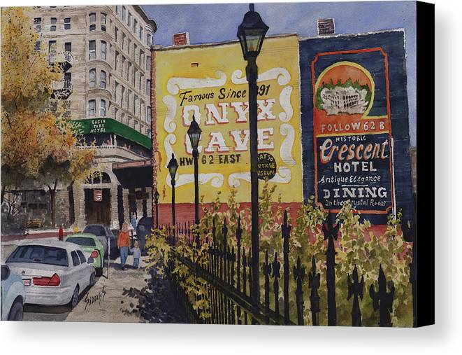 Spring Street Canvas Print featuring the painting Spring Street At Basin Park by Sam Sidders