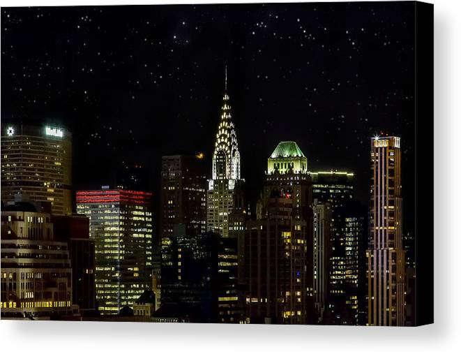 Buildings Canvas Print featuring the photograph Starry Night by Janet Fikar