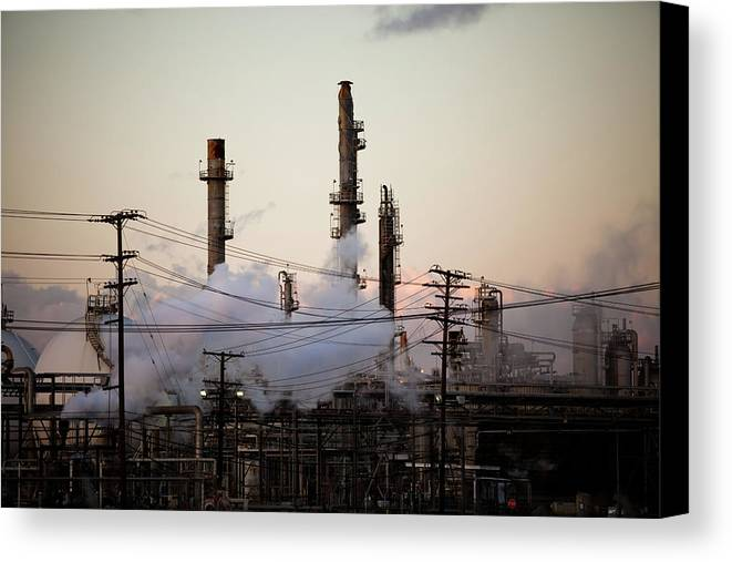 Horizontal Canvas Print featuring the photograph Steam Plumes At Oil Refinery by Hal Bergman