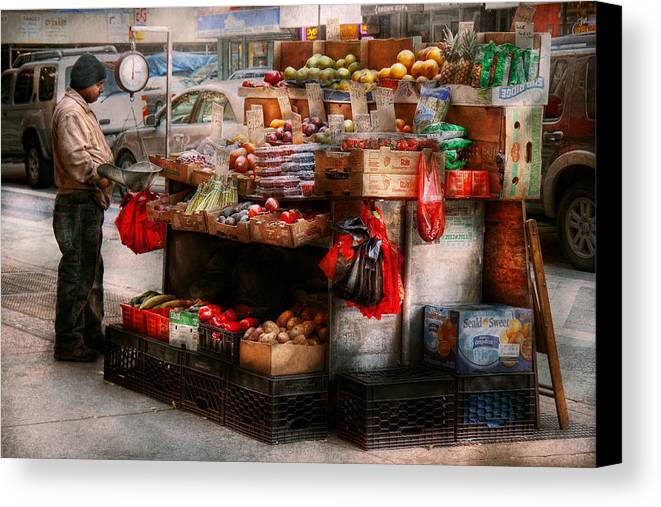 Chelsea Canvas Print featuring the photograph Store - Ny - Chelsea - Fresh Fruit Stand by Mike Savad