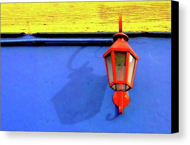 Horizontal Canvas Print featuring the photograph Streetlamp With Primary Colors by by Felicitas Molina