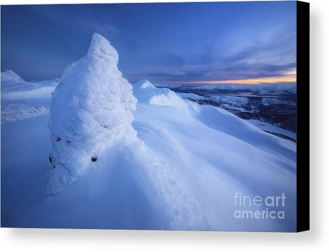 Norway Canvas Print featuring the photograph Sunset On The Summit Toviktinden by Arild Heitmann