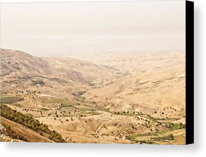 Horizontal Canvas Print featuring the photograph The Jordan Valley, Jordan by Jim Foley