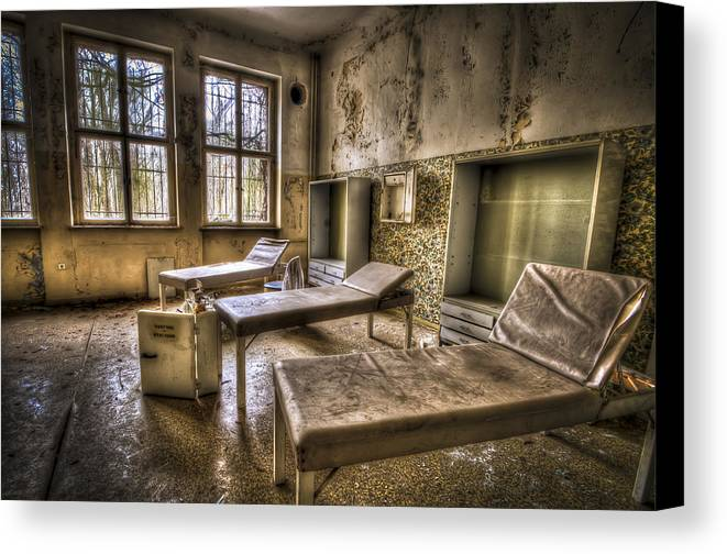 Window Canvas Print featuring the photograph Three Beds Horror by Nathan Wright