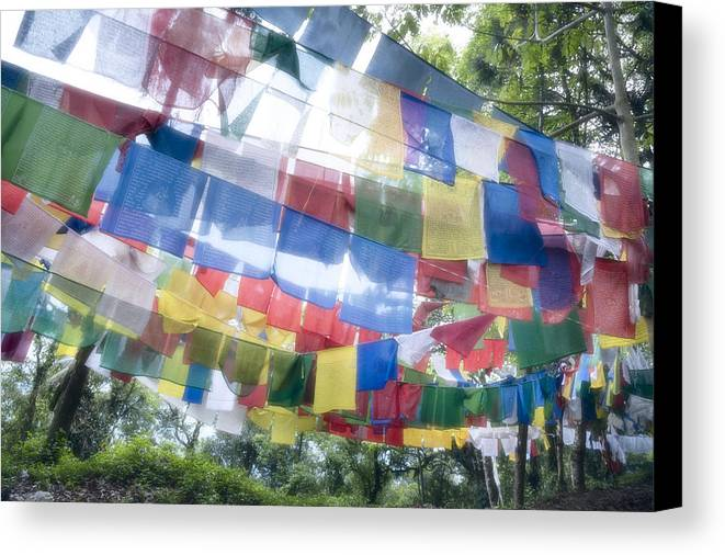 Horizontal Canvas Print featuring the photograph Tibetan Buddhist Prayer Flags by Glen Allison