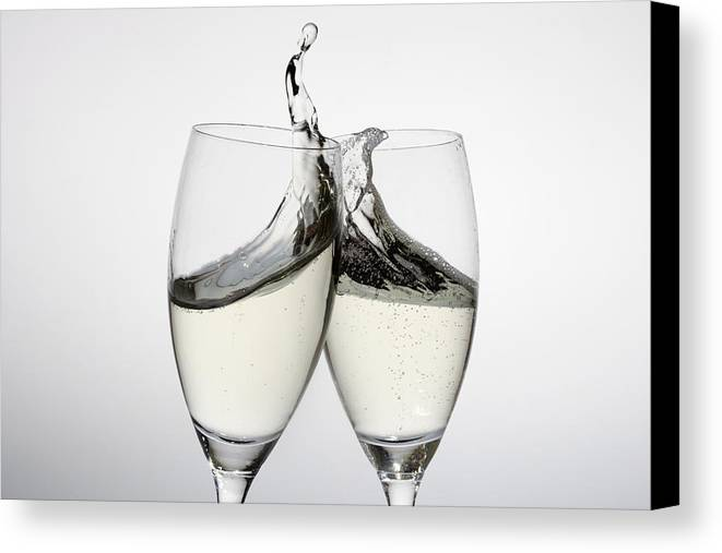 Horizontal Canvas Print featuring the photograph Toasting With Two Glasses Of Champagne by Dual Dual