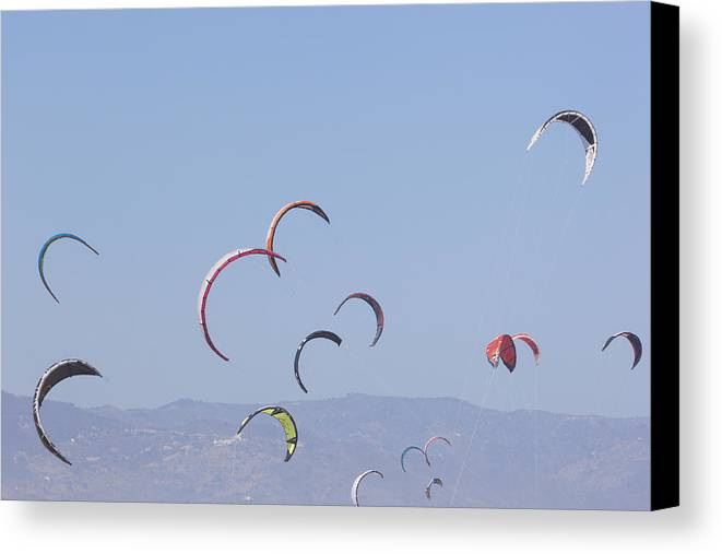 Horizontal Canvas Print featuring the photograph Torremolinos, Spain Kite Surfing by Ken Welsh