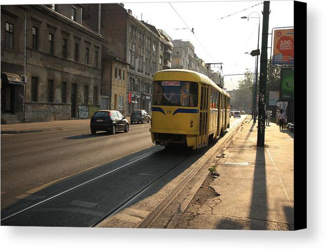 Sarajevo Canvas Print featuring the photograph Tramway In The Morning Light by Frederic Vigne