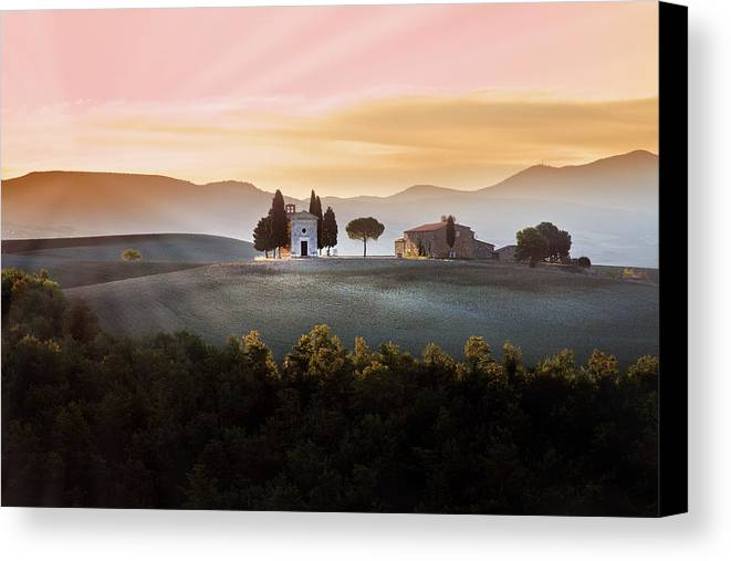 Horizontal Canvas Print featuring the photograph Vitaleta Chapel At Sunset by Jova photo