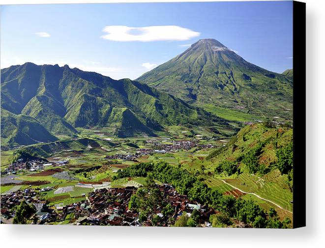 Horizontal Canvas Print featuring the photograph Volcano Near Dieng Plateau by Jens U. Hamburg