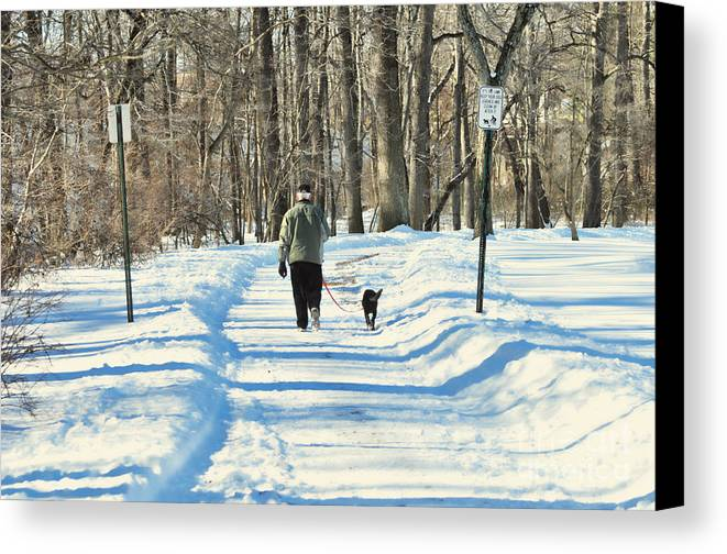 Winter Canvas Print featuring the photograph Walking The Dog by Paul Ward