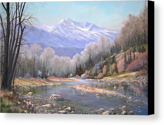 Landscape Canvas Print featuring the painting 060521-3624 Spring In The Rockies by Kenneth Shanika