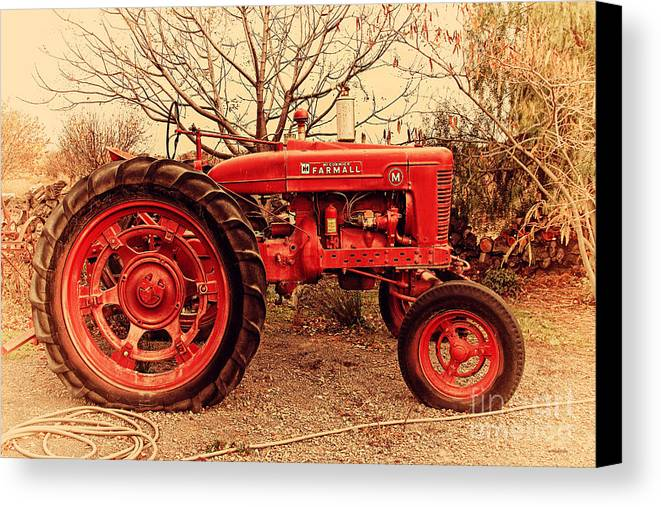 Retro Canvas Print featuring the photograph International Harvester Mccormick Farmall Farm Tractor . 7d10320 by Wingsdomain Art and Photography