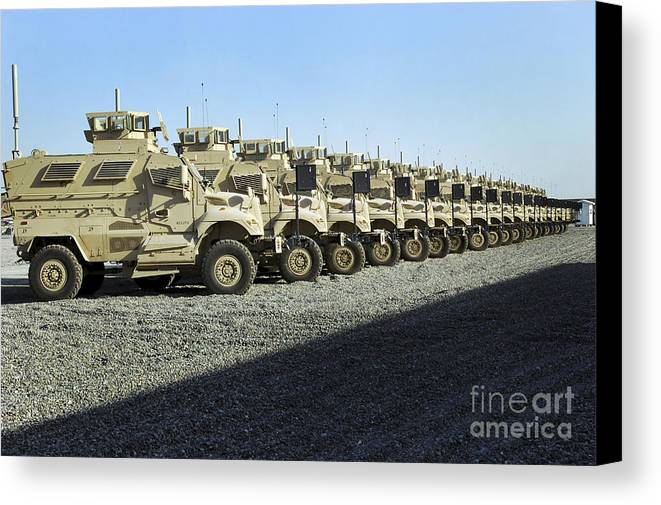 Wheels Canvas Print featuring the photograph Maxxpro Mine Resistant Ambush Protected by Stocktrek Images
