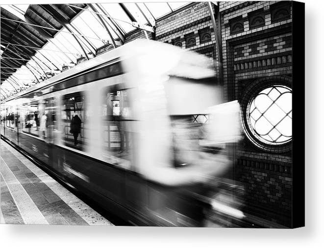 Bahn Canvas Print featuring the photograph S-bahn Berlin by Falko Follert