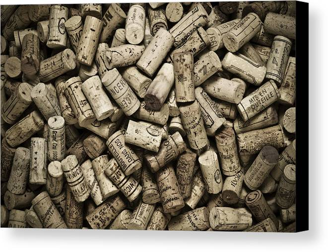 Frank Tschakert Canvas Print featuring the photograph Vintage Wine Corks by Frank Tschakert
