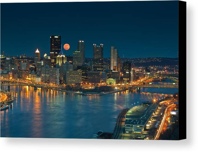 Pittsburgh Canvas Print featuring the photograph 2011 Supermoon Over Pittsburgh by Jennifer Grover
