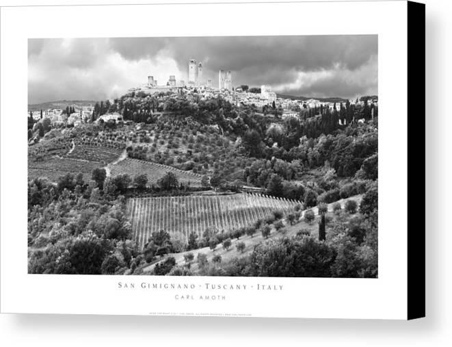 San Gimignano Canvas Print featuring the photograph San Gimignano Tuscany Italy by Carl Amoth