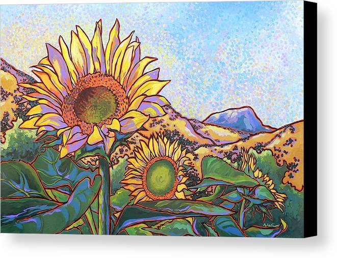 Sunflower Canvas Print featuring the painting 3 Sunflowers by Nadi Spencer