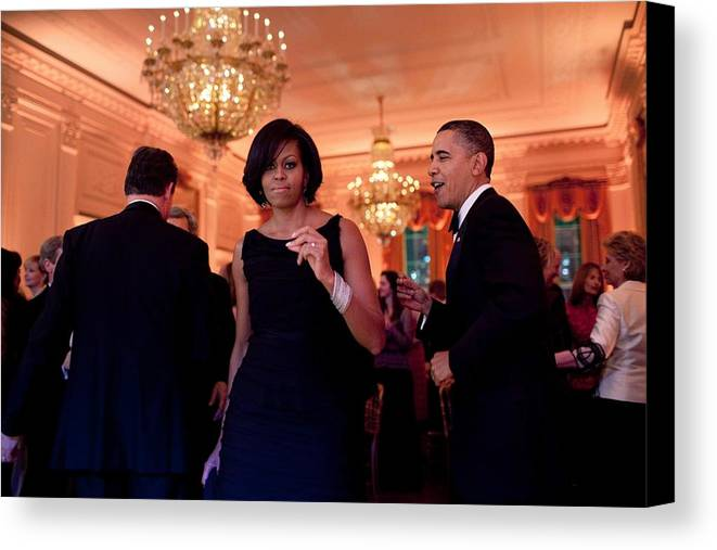 History Canvas Print featuring the photograph President And Michelle Obama Dance by Everett