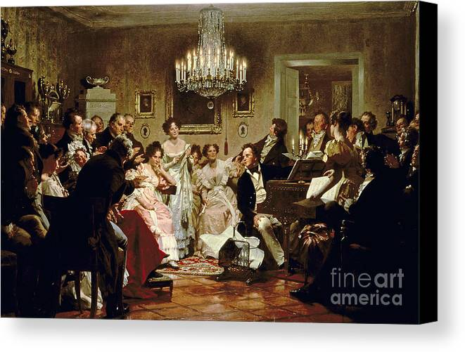 A Schubert Evening In A Vienna Salon By Julius Schmid (1854-1935) Canvas Print featuring the painting A Schubert Evening In A Vienna Salon by Julius Schmid