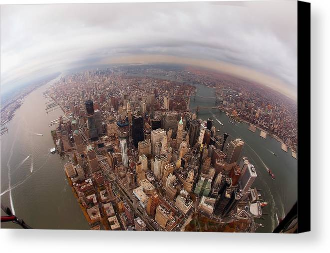 Horizontal Canvas Print featuring the photograph Aerial View Of City by Eric Bowers Photo