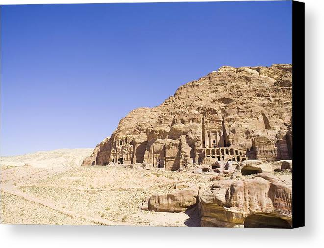 Horizontal Canvas Print featuring the photograph Archaeological Remains Of Petra Unesco World Heritage Site Jordan, Middle East by Gallo Images