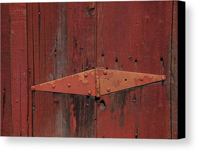 Red Door Henge Canvas Print featuring the photograph Barn Hinge by Garry Gay