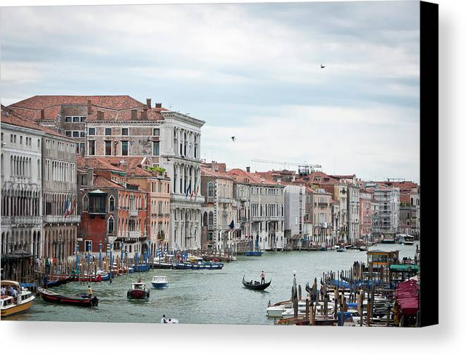 Horizontal Canvas Print featuring the photograph Boats And Gondolas In Grand Canal by AlexandraR