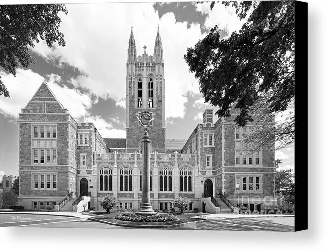 Gasson Hall Canvas Print featuring the photograph Boston College Gasson Hall by University Icons