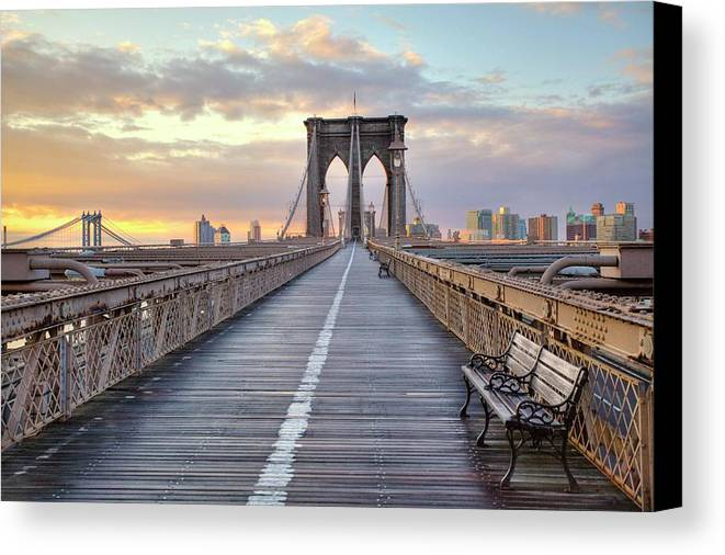 Horizontal Canvas Print featuring the photograph Brooklyn Bridge At Sunrise by Anne Strickland Fine Art Photography