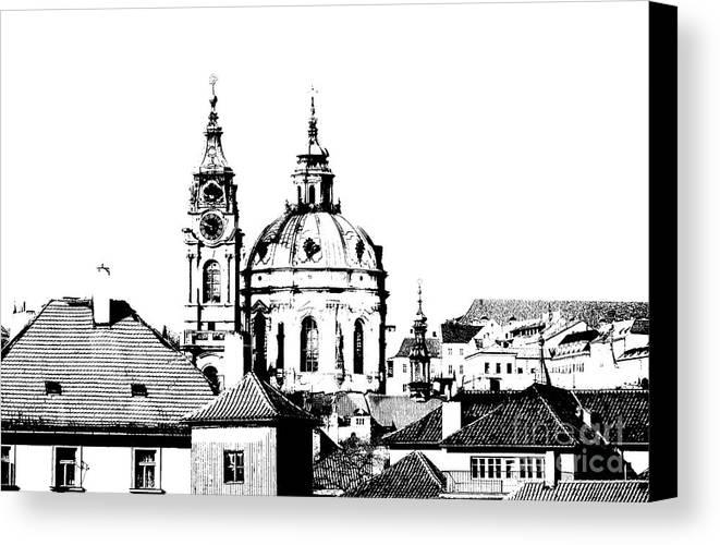 Prague Canvas Print featuring the drawing Church Of St Nikolas by Michal Boubin