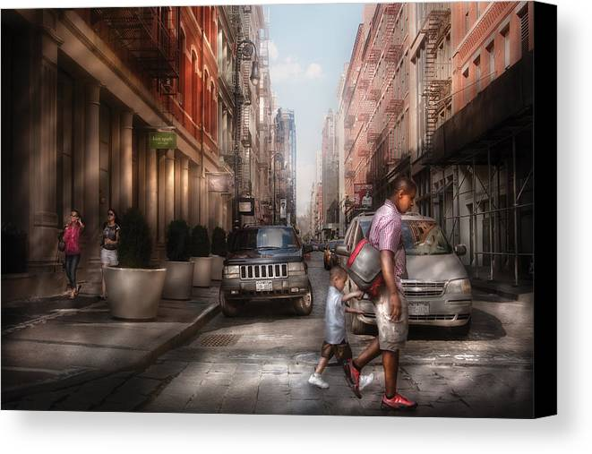 Savad Canvas Print featuring the photograph City - Ny - Walking Down Mercer Street by Mike Savad