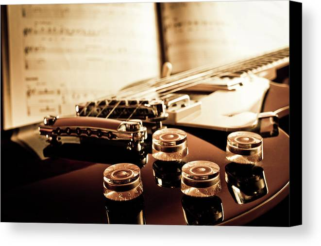Horizontal Canvas Print featuring the photograph Classic Guitar Still Life With Notes by A Driempixel Photo