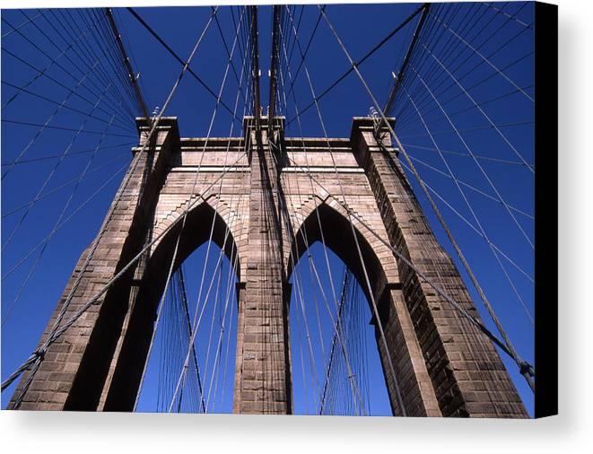 Landscape Brooklyn Bridge New York City Canvas Print featuring the photograph Cnrg0409 by Henry Butz