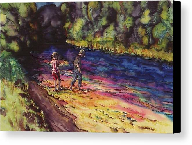 Stream Canvas Print featuring the tapestry - textile Crossing The Stream by Carolyn Doe