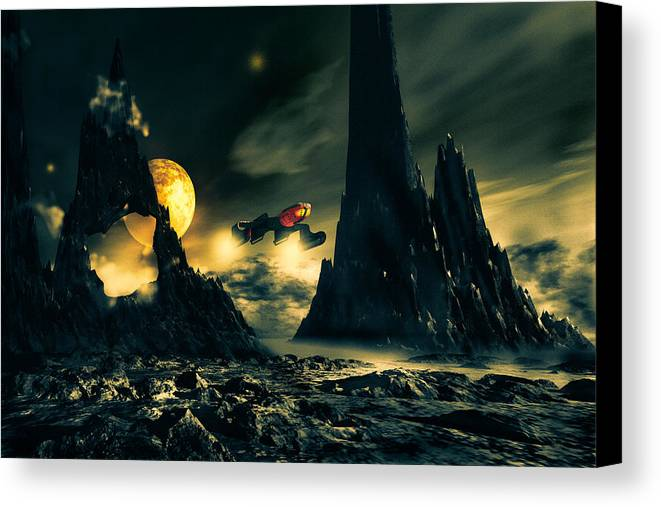 Science Fiction Canvas Print featuring the digital art Dark Planet by Bob Orsillo