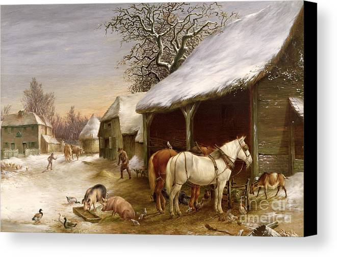 Gg14441 Canvas Print featuring the painting Farmyard In Winter by Henry Woollett