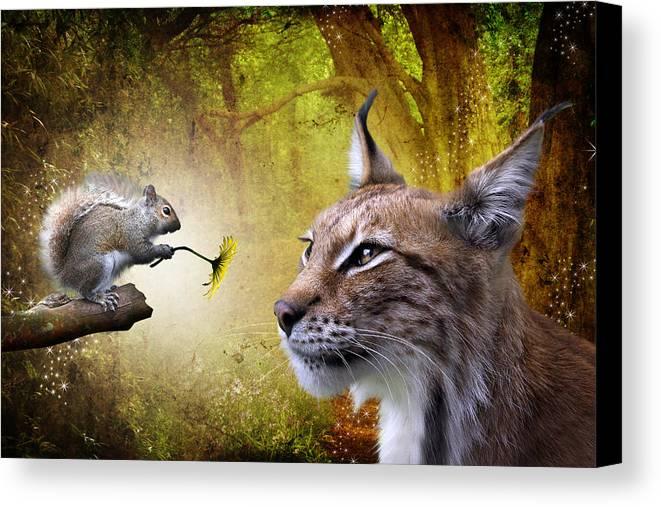 Cat Canvas Print featuring the digital art For You by Julie L Hoddinott